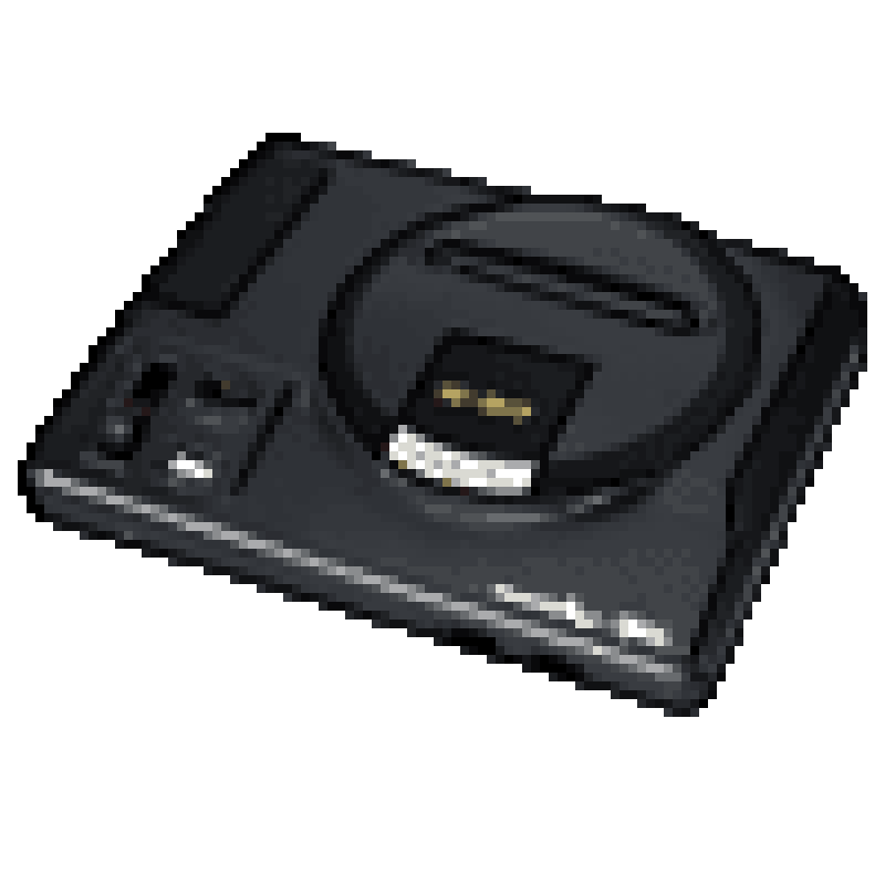 pixelated Megadrive gaming console