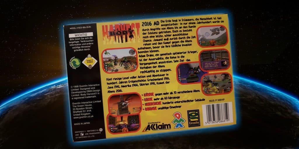 Body Harvest for the N64 back