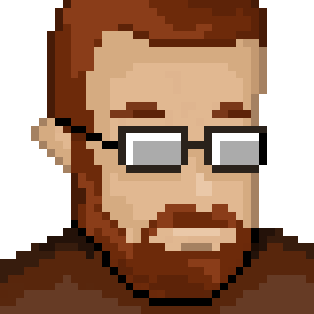 pixelated retro gamer avatar of Manu